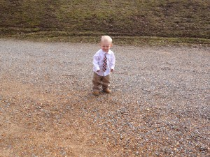 Atlas playing outside before church