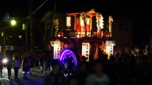 This is a large Mikoshi built with a wheel. It will be pulled instead of carried.