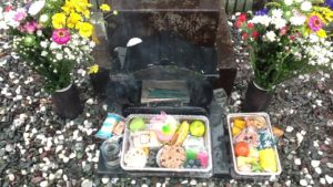 Food left at a grave