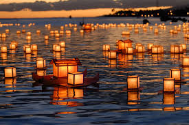 Lanterns are sent out over the water to send a loved one's spirit off.