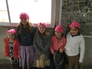 The girls with some new friends...and some new hats!