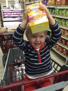 Eli helping with grocery shopping